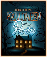 Retro Halloween background party invitation