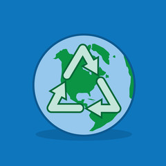 Recycle symbol over the planet earth