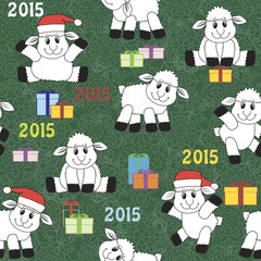 Cute sheep seamless pattern. Symbol 2015.