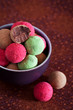 Assorted chocolate truffles, selective focus