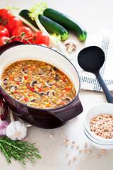Soup with chickpeas, mushrooms and vegetables