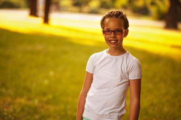 Cute Caucasian girl in park