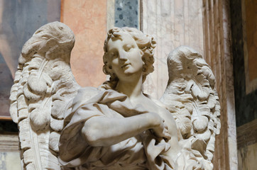 angel statue, marble, Pantheon, Rome, Italy