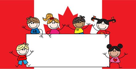 mixed ethnic children canadian flag