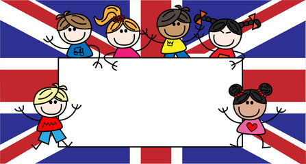 mied ethnic children british flag
