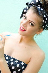 young pin up girl drink a juice