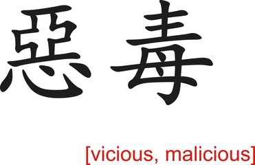 Chinese Sign for vicious, malicious