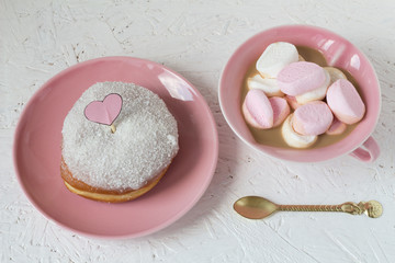 Coconut Glazed Donut and Coffee with Marshmallows