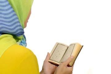 Hijab woman reading koran