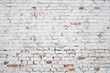 Leinwandbild Motiv Cracked white grunge brick wall textured background stained old