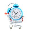 Alarm clock in a shopping cart