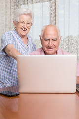 Smiling retired couple