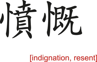 Chinese Sign for indignation, resent