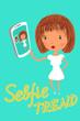 Girl is taking selfie. Handdrawn vector illustration