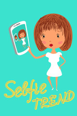 Girl is taking selfie. Handdrawn vector illustration