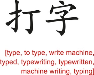Chinese Sign for type, to type, write machine,typed,typewriting