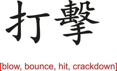 Chinese Sign for blow, bounce, hit, crackdown