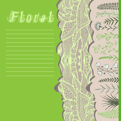 Floral greeting card with silhouette of grass