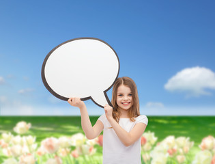 smiling little girl with blank text bubble