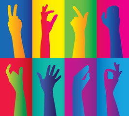 colorful clusters of hands