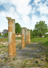 Roman Forum, Roman columns on Aquileia, Italy, UNESCO