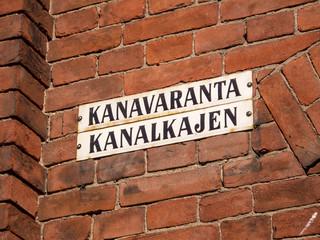 Straßenschild Kanalkajen in Helsinki