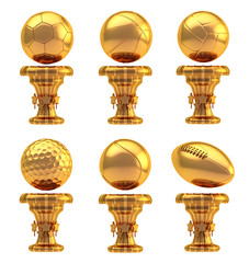Award sport trophy cup set isolated