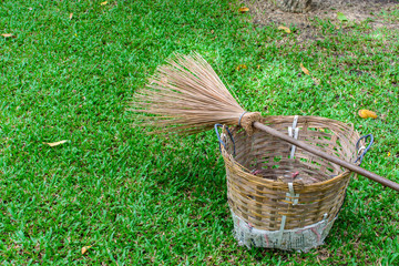 Broom and basket for cleaning the garden
