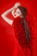 Beautiful Fashion Glamorous angel girl with red wings and wavy l