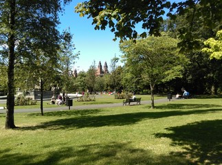 Summer in Kelvingrove park in Glasgow