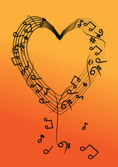 vector music note on heart background © zoneteen