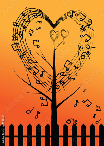 vector abstract musical tree and heart