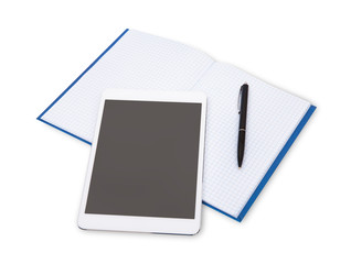 Modern blank digital tablet, papers and pen on a white backgroun