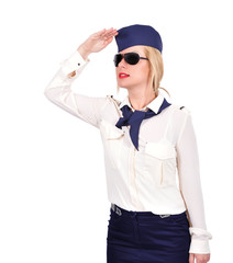 Stewardess looking