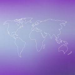 World map on abstract blurred background.