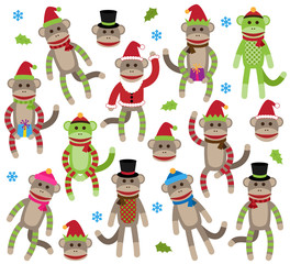 Vector Collection of Cute Christmas Themed Sock Monkeys