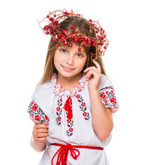 little girl in the national Ukrainian costume