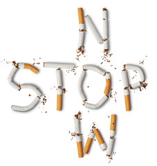 Text stop now made from broken cigarettes