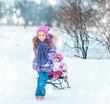 little girl sledding his sister