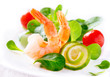 Prawn salad. Healthy shrimp salad with mixed greens