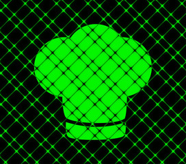 Chef cap icon flat design with abstract background