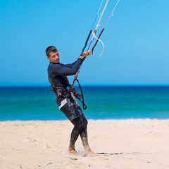 young  kite surfing athlete