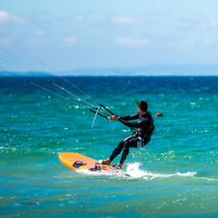 Kite Surfer in sea waves