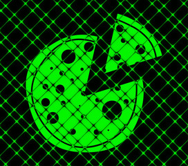 Pizza icon flat design with abstract background