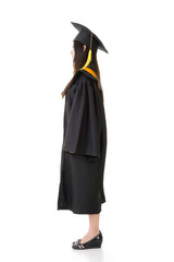 Asian graduation woman of side view