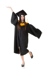 Happy smiling young asian graduation woman