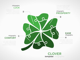 Luck concept infographic template with clover