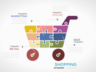 Shopping concept infographic template with shopping cart
