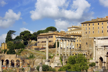 ruins of famous ancient Roman Forum, Rome, Italy