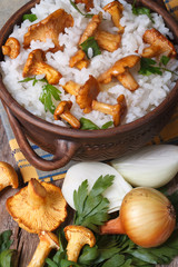 risotto with chanterelle mushrooms and ingredients vertical